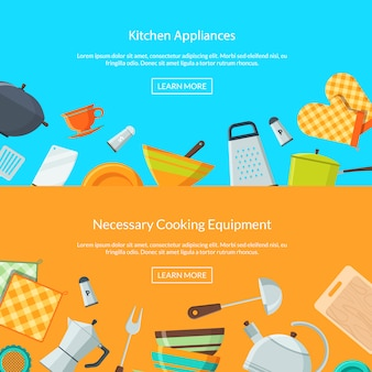 Kitchen utensils icons web page