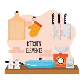木製のテーブルとカトラリーのイラストデザインの台所用品