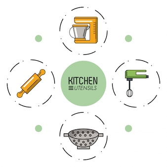 Kitchen utensils infographic over white background vector illustration