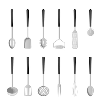 台所用品。白い背景の上の孤立したベクトルイラスト。