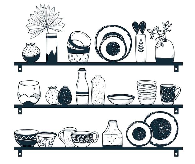 선반 위의 주방 용품 장식용 세라믹 또는 복고풍 식기