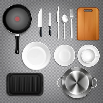 Kitchen utensils realistic set top view  with cutlery knives plates cutting board frying pan transparent