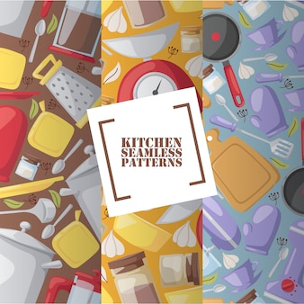 Kitchen utensils in seamless pattern cooking accessories