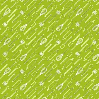 Kitchen utensils seamless pattern isolated