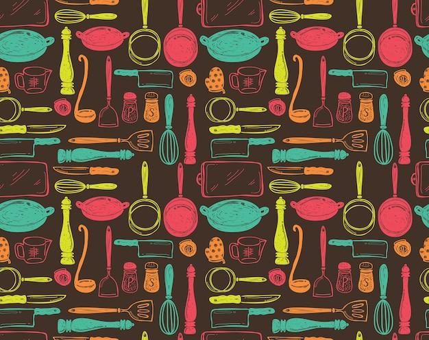 キッチン用品シームレスパターン