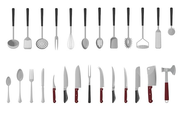 台所用品セット。白い背景の上の孤立したイラスト。