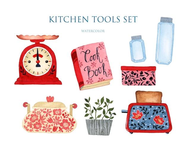 Кухонная утварь набор акварель изолированные элементы