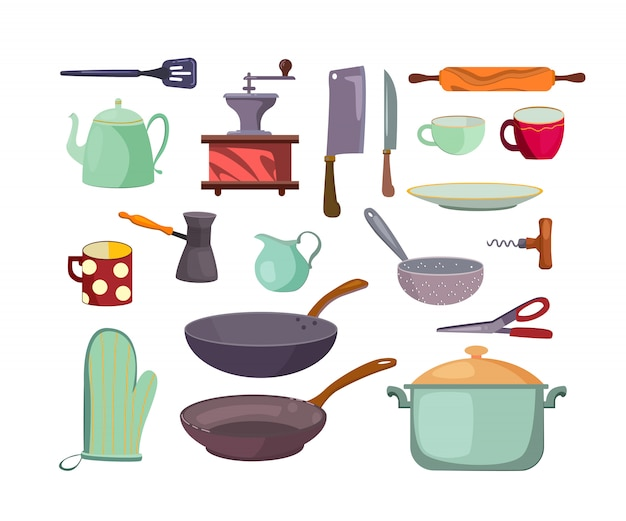 Kitchen utensils and tools flat icon set