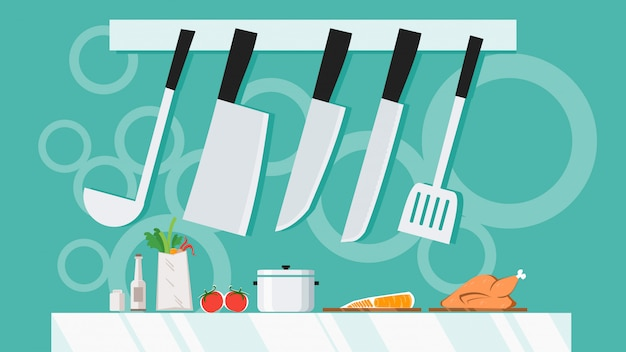 Kitchen Utensils With Knife Set Equipment Hanging Cooking With Shelve Banner Background Concept Premium Vector