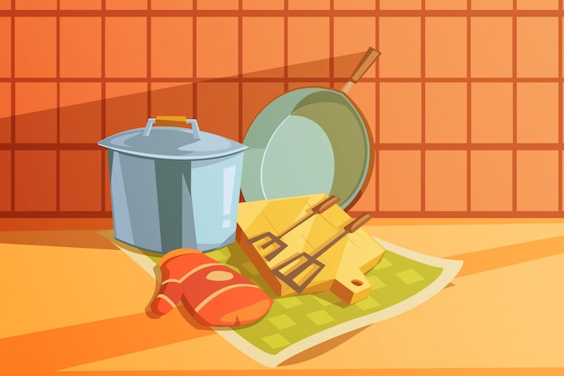 Kitchen utensils with saucepan chopping board and frying pan