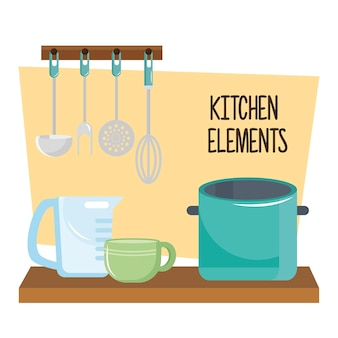 Kitchen utensils in wooden table and cutleries hanging illustration design