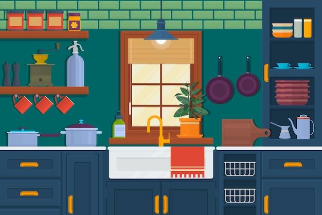 家具付きキッチン。テーブル、コンロ、食器棚、食器が置かれた居心地の良い室内。フラットスタイルのベクトルイラスト。キッチンインテリアのベクトル図。