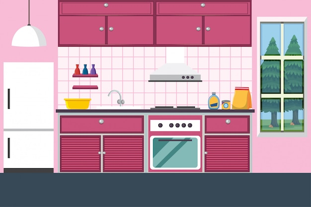 Кухня с мебелью в розовом