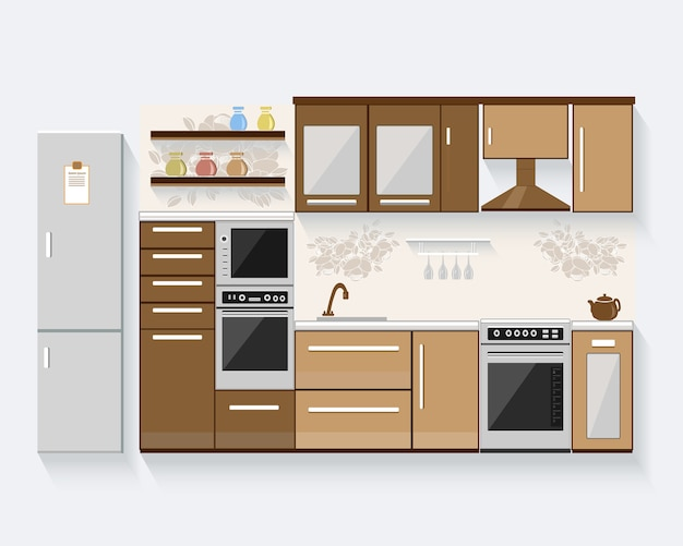Kitchen with furniture.  modern   illustration