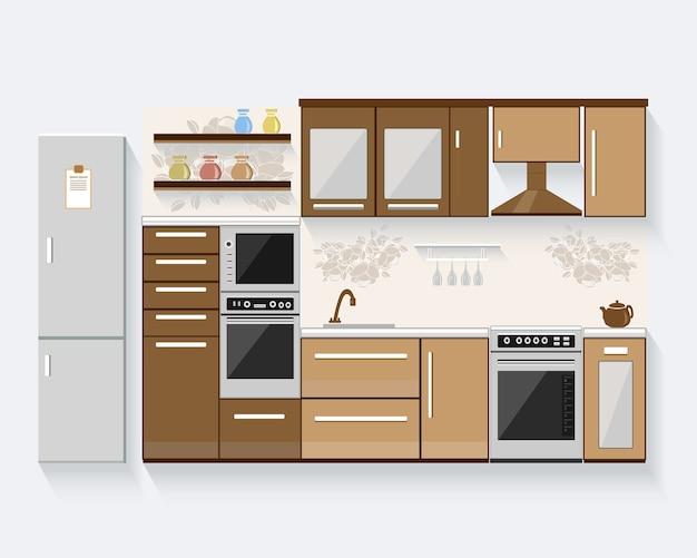 Кухня с мебелью. современная иллюстрация