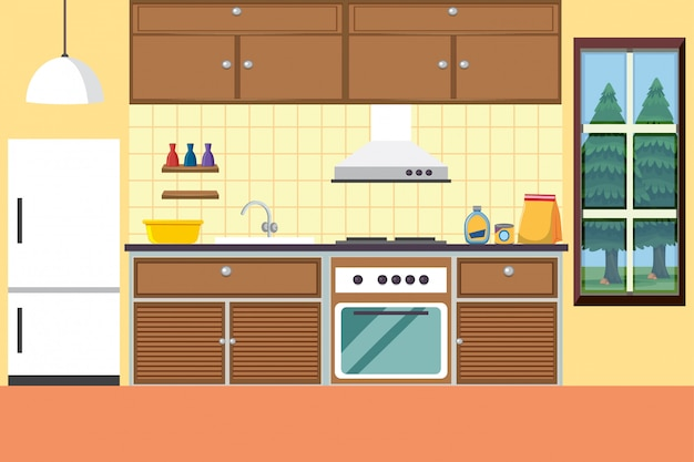 Kitchen with stove and refridgerator