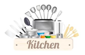 キッチンツール付きキッチンウッドボード