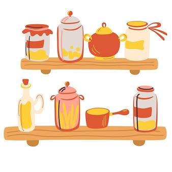 유리 항아리가 있는 주방 나무 선반. 맛있는 통조림 식품, 유기농 영양, 수제 보존 식품, 가정 보존. 다른 모양의 항아리와 병. 평면 만화 스타일의 벡터 일러스트 레이 션.