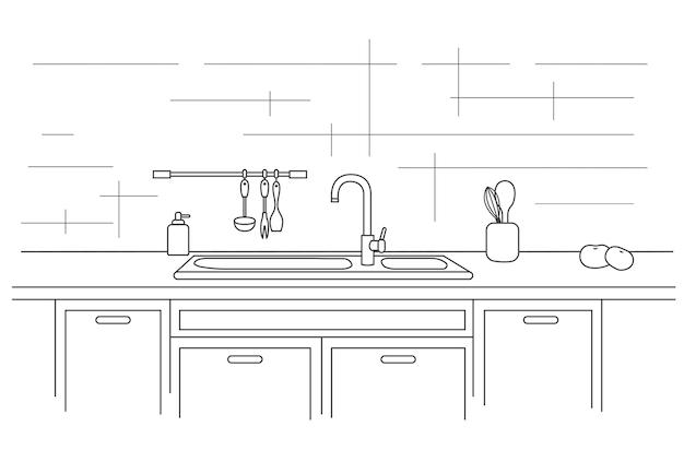 싱크대가있는 주방 조리대. 선형 삽화.