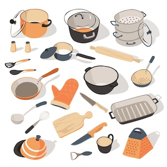 調理器具のキチネット用の台所用品と食器