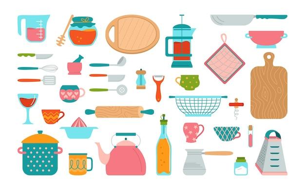 주방 용품 및기구 만화 세트 현대 주방 도구 평면 요리 요리, 장비 접시 컵, 압정 주전자 강판 손으로 그린기구 컬렉션 개체