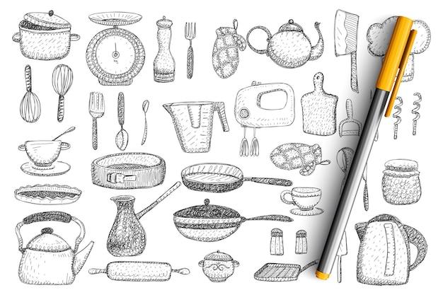 주방 용품 및기구 세트 낙서. 손으로 그린 주전자, 프라이팬, 믹서, 칼, 주전자, 칼 붙이, 컵 및 머그잔, 식기, 벙어리 장갑 및 그릴 컬렉션