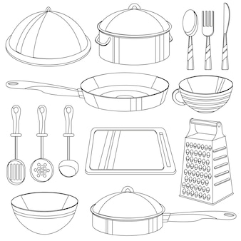 Книжка-раскраска для посуды. векторная иллюстрация для детей - набор иконок кухонного оборудования - сковорода, чашка, сковорода, миска, доска и т. д.