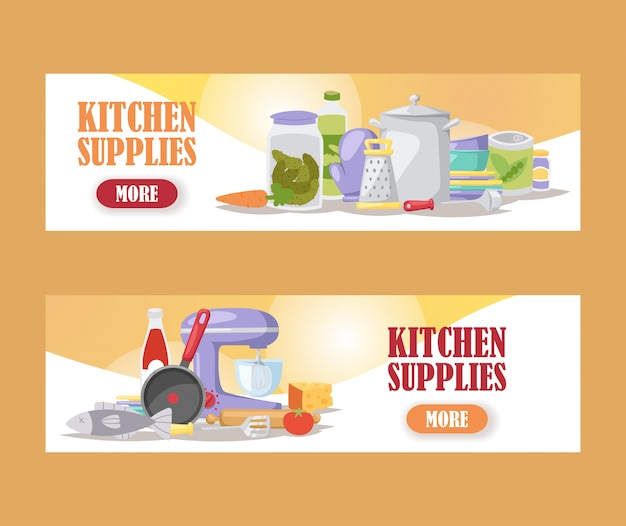 Kitchenware cooking supply store banners kitchen appliances and household utensils online shop