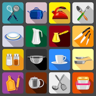 Kitchenware dishes icons set.