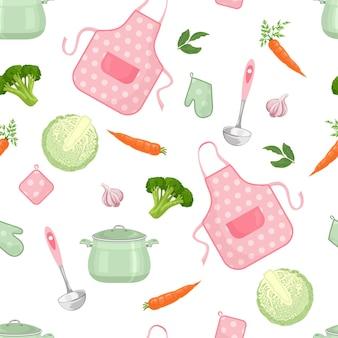 Kitchenware and food seamless pattern.