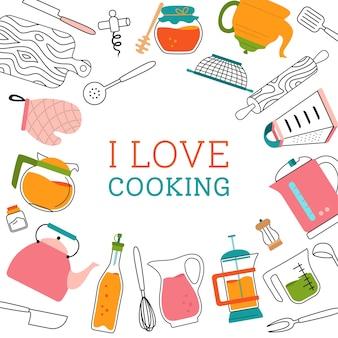 주방 라인 만화, 나는 요리, 현대 주방 도구 평면 요리 요리, 장비를 좋아합니다. 접시 컵, 압정 찻 주전자 강판. 기구 수집 개체