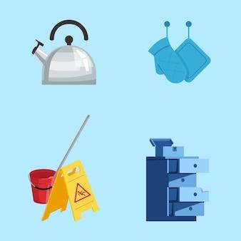 Набор цветных иллюстраций полу rgb. инструменты для чистки. кухонное оборудование, аксессуары. чайник, прихватки, предупреждающий знак, коллекция мультяшных объектов на синем фоне