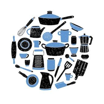 台所用品は、白い背景に設定します。様式化された手描きのラウンド料理組成落書き料理イラスト。