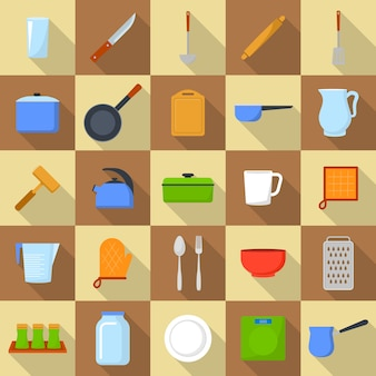 Kitchenware tools cook icons set. flat illustration of 25 kitchenware tools cook icons for web