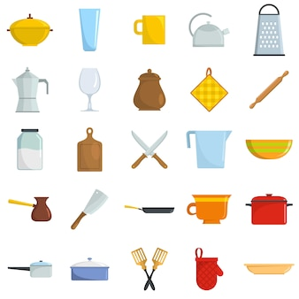 Kitchenware tools cook icons set vector isolated