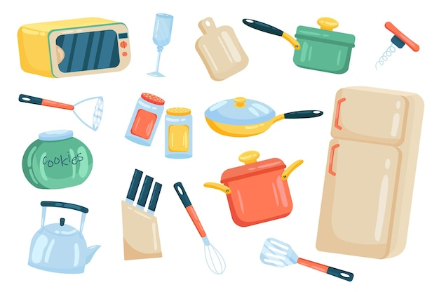 Kitchenware and utensils cute elements isolated set