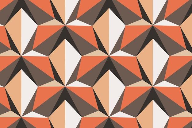 Kite 3d geometric pattern vector orange background in retro style