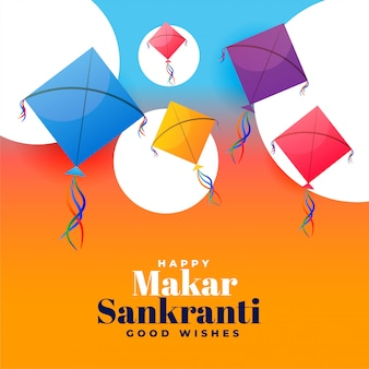 Kite festival makar sankranti wishes greeting card design