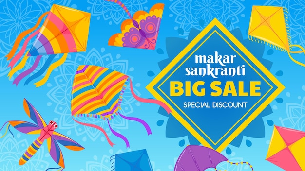 Kite festival sale. traditional indian celebration makar sankranti special discount offer banner. colorful flying kites vector sale poster. harvest maghi religious holiday illustration