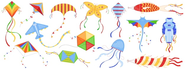 Kite festival vector illustration set.