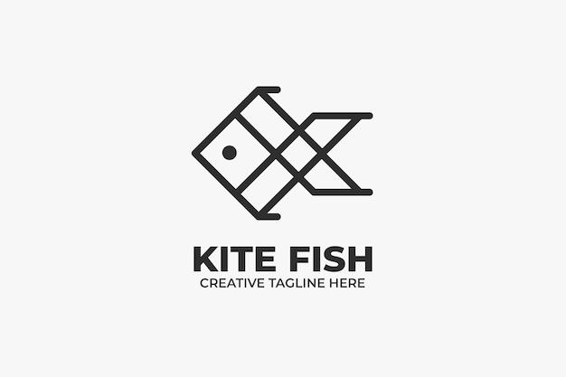Kite fish geometric monoline logo