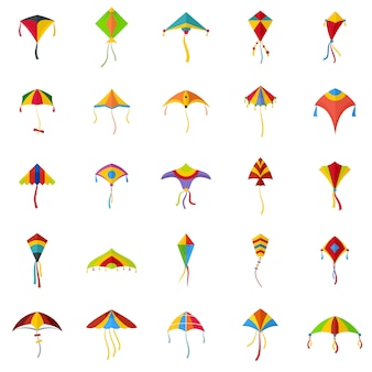 Kite flying festival surf icons set