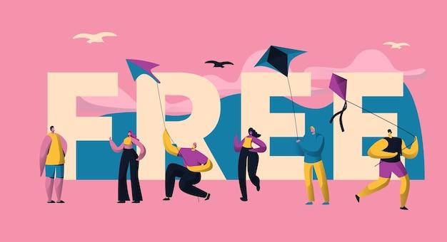 Шаблон плаката типографики kite free.