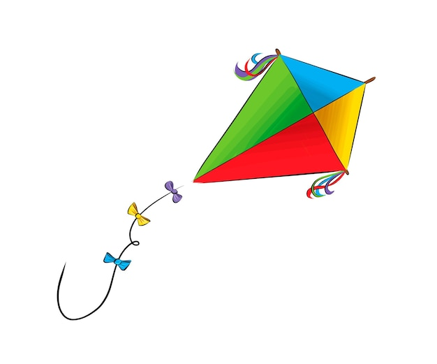 Kite from multicolored paints splash of watercolor colored drawing realistic