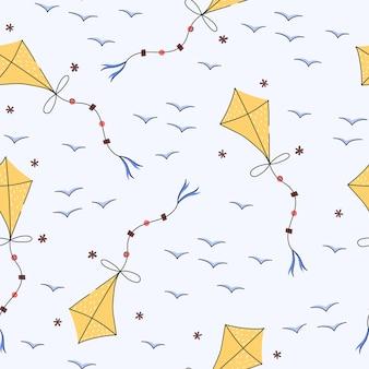 Воздушный змей рисованной бесшовные модели в мультяшном стиле для детской
