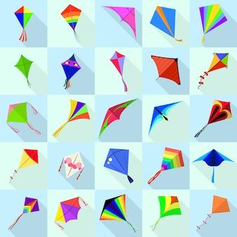 Kite icons set, flat style