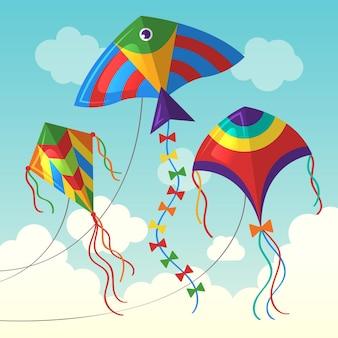 구름에 연입니다. 만화 스타일의 어린이 벡터 배경을 위한 야외 공기 연 벡터 재미있는 장난감을 날고 있습니다. 공기 하늘에 연, 그림 바람 자유 게임