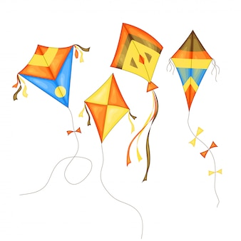 Kite set of different colors in cartoon style isolated