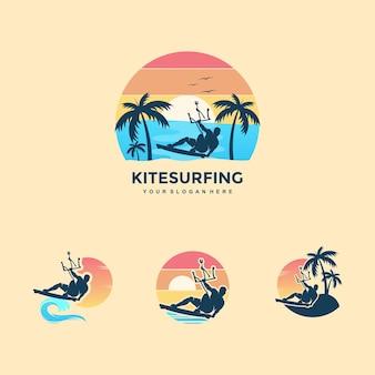 Kite surfing design concept illustration silhouette vector Premium Vector