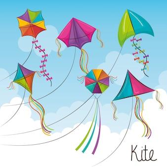 Kite toy flying icon